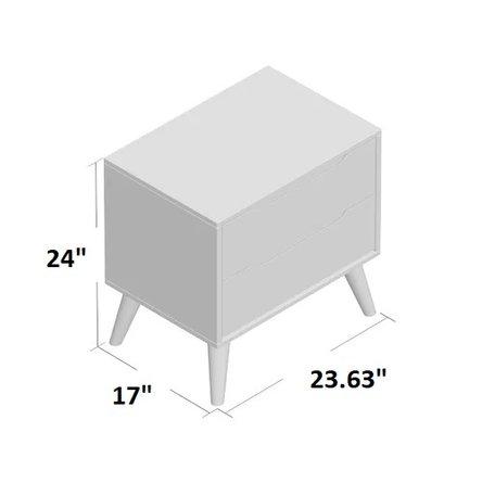 Mason 2 Drawer Nightstand Gray