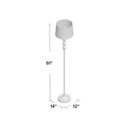 Shipton Crystal And Metal Floor Lamp Off-White