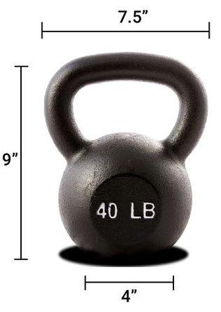 Hercules 40 lb Kettlebell Black (Single Unit)