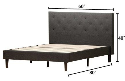 Hutton Upholstered Diamond Stitched Platform Queen Bed Dark Gray