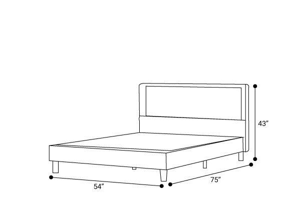 Auva Upholstered Tufted Center Platform Full Bed Dark Gray