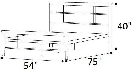 Alya Metal and Wood Contemporary Platform Full Bed Black