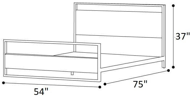 Suzanne Low Profile Platform Full Bed With Footboard Black & Natural