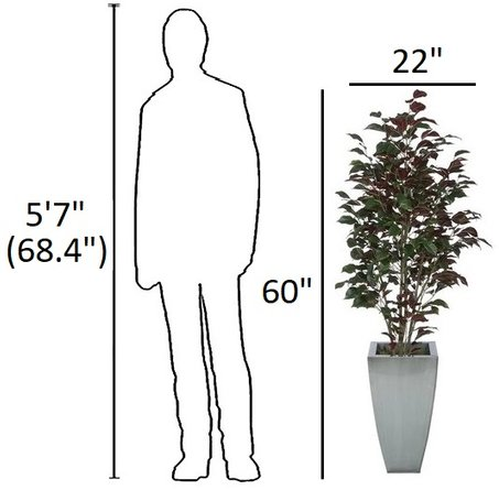 Trent Fabric Ficus Tree Silver And Red
