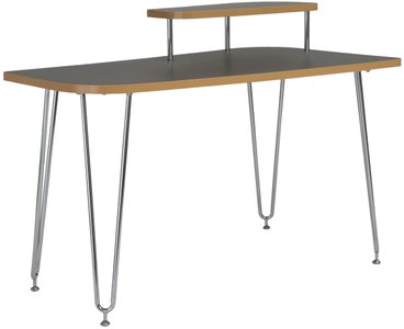 Hanh Desk With Right Shelf Gray & Chrome