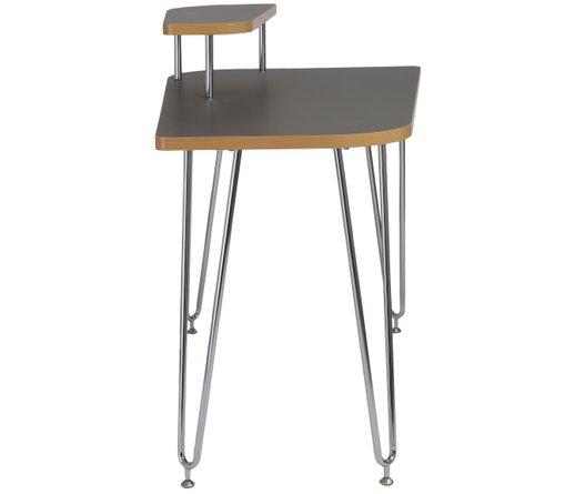 Hanh Desk With Right Shelf Gray & Chrome