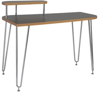 Hanh Desk With Left Shelf Gray & Chrome