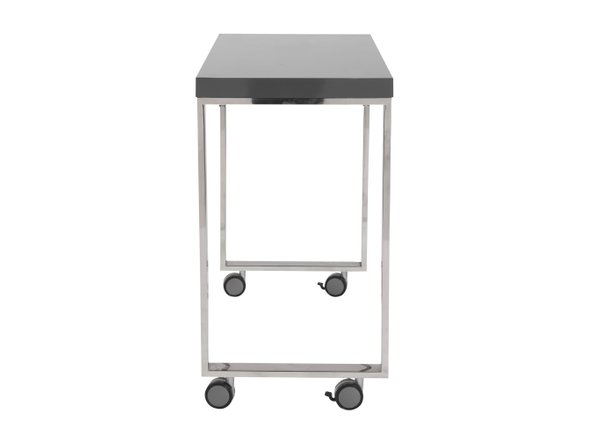 "Dillon 40"" Side Return Desk Gray & Stainless Steel"