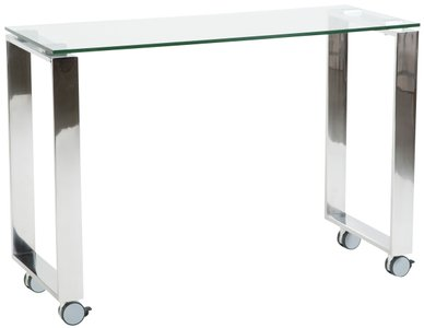 "Diego 40"" Side Return Desk Clear & Stainless Steel"