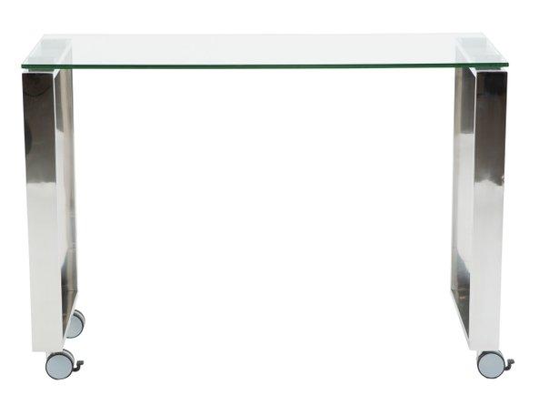 "Diego 40"" Side Return Desk Clear & Stainless Steel"