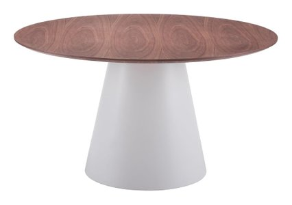 Query Dining Table White & Walnut