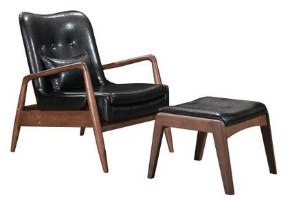 Bully Lounge Chair & Ottoman Black
