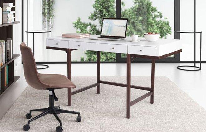 Printer Desk Walnut & White