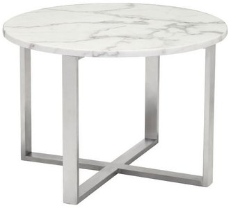 Globe End Table Stone & Stainless Steel