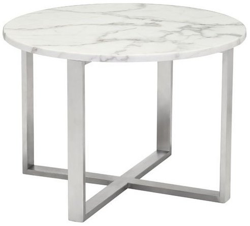 Globe End Table White & Silver