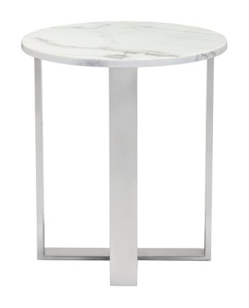 Atlas End Table Stone & Brushed Stainless Steel