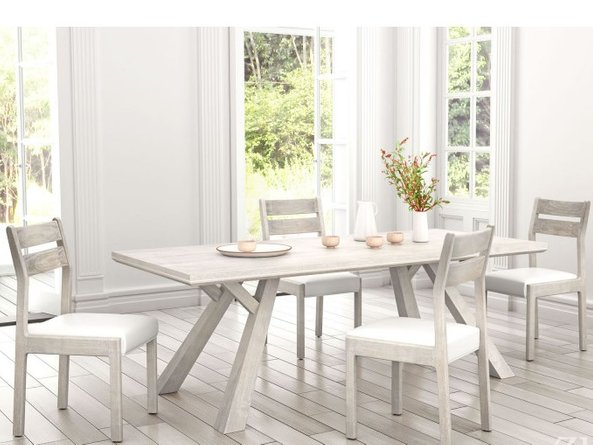 Beaumont Rectangular Dining Table Washed Gray