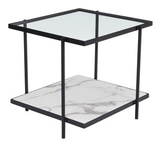 Winslett End Table Clear & White Matt Black