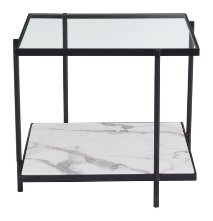 Winslett End Table Clear & White & Matt Black