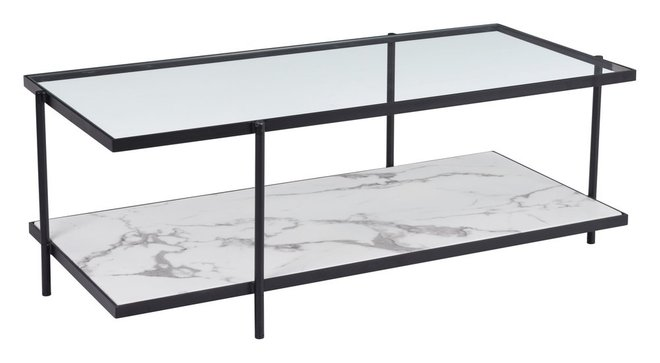 Winslett Coffee Table Clear & White & Matt Black