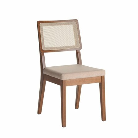Pell Dining Chair Dark Beige/Maple Cream
