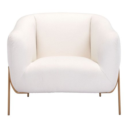 Micaela Arm Chair Ivory And Gold