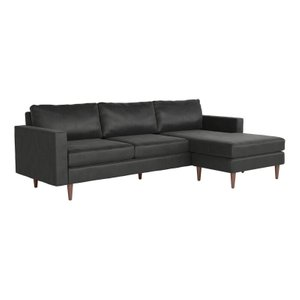 Kace Reversible Sectional Sofa Charcoal Velvet