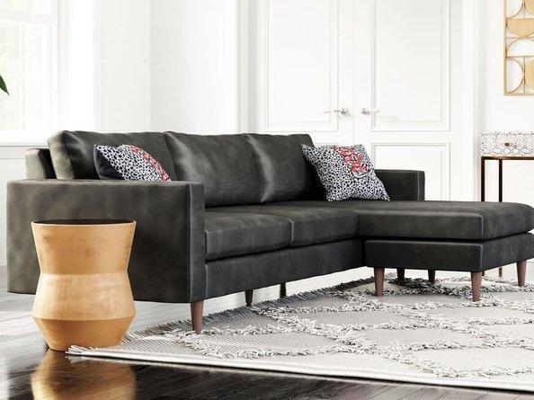 Kace Reversible Sectional Sofa Charcoal Velvet