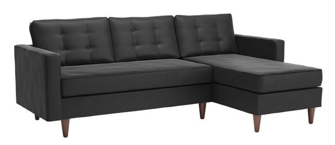 Puget Right Extended Sectional Charcoal Velvet