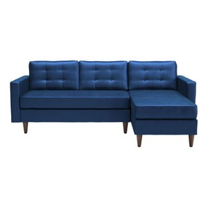Puget Right Extended Sectional Dark Blue Velvet
