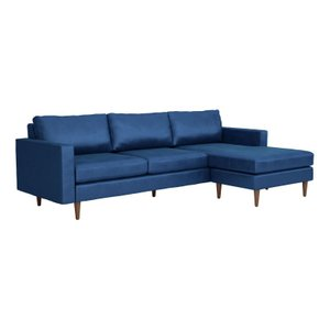 Kace Reversible Sectional Sofa Dark Blue Velvet