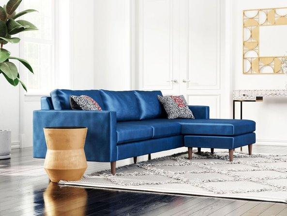 Kace Reversible Sectional Sofa Dark Blue Velvet