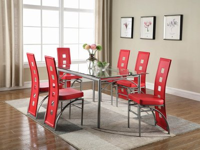Los Feliz Contemporary Metal Dining Table Matte Silver