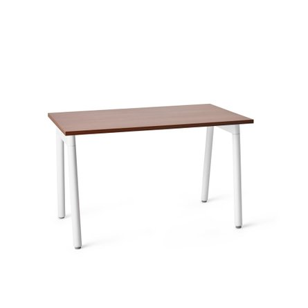 "Series A Single Desk for 1, Walnut, 57"", White Legs"