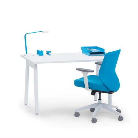 "Series A Single Desk for 1, White, 57"", White Legs"
