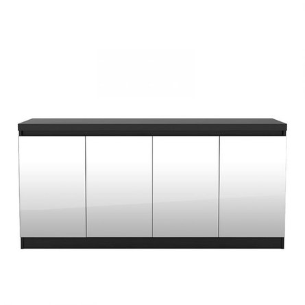 Viennese 6 Shelf Buffet Cabinet With Mirrors Black