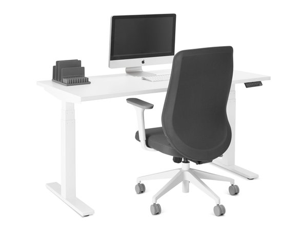 "Series L Adjustable Height Single Desk, White, 57"", White Legs"