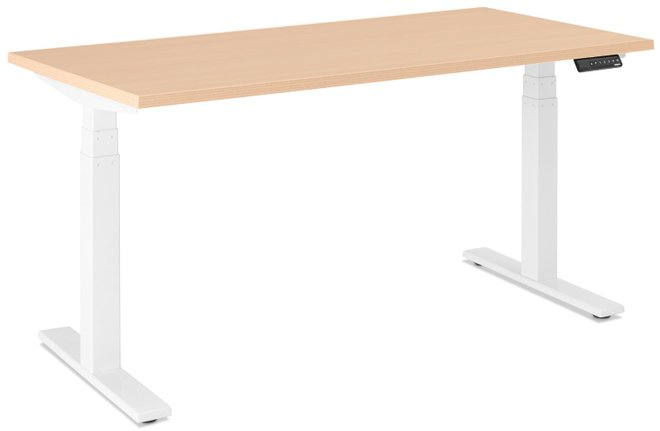 "Series L Adjustable Height Single Desk, Natural Oak, 57"", White Legs"