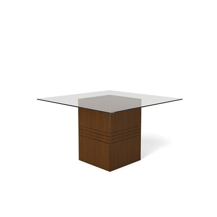 Perry Sleek Tempered Glass Table Nut Brown