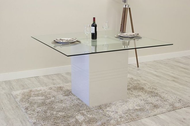 Perry Sleek Tempered Glass Table White