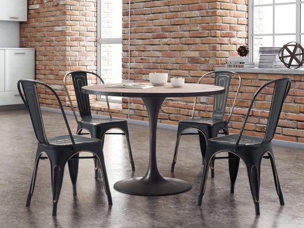 Elio Dining Chair Anti Black Gold (Set Of 2)