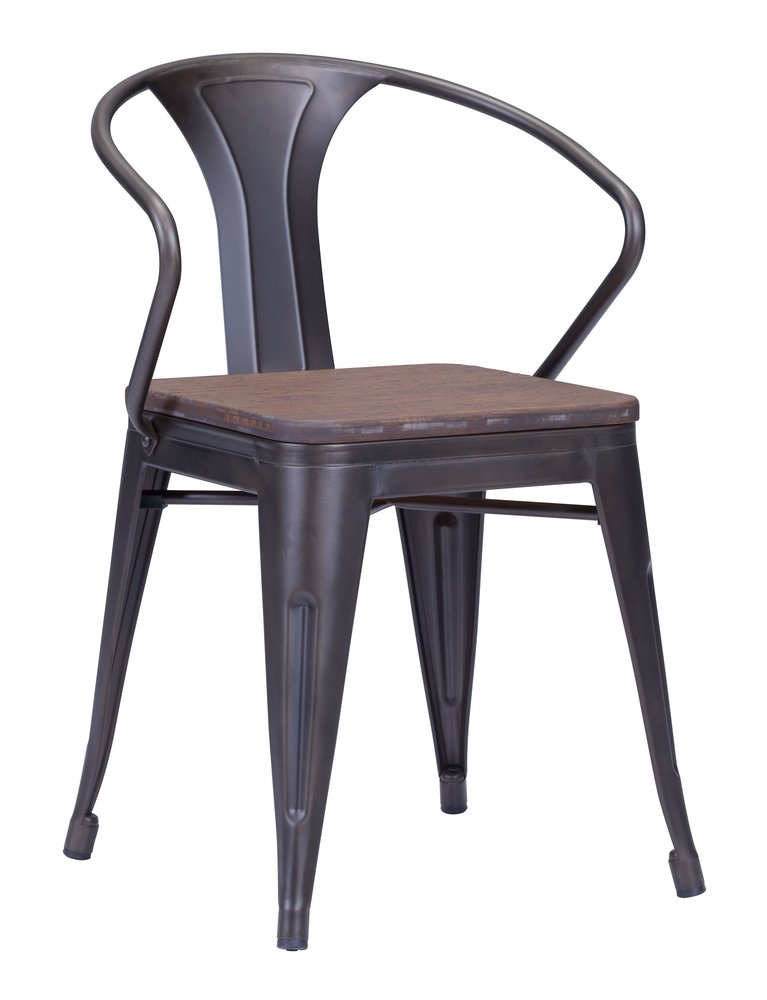 Helix Dining Chair Rusty & Elm Wood Top