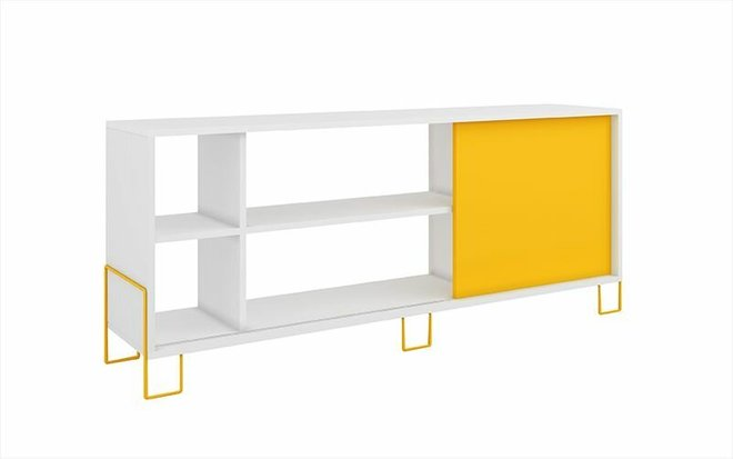 "Nacka 53.15"" TV Stand White/Yellow"