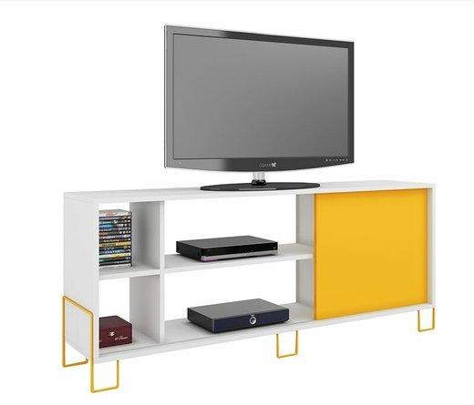 """Nacka 53.15"""" TV Stand White/Yellow"""