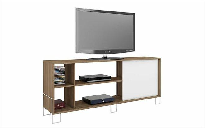 """Nacka 53.15"""" TV Stand Oak/White"""