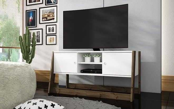 "Salvador 40.79"" TV Stand White/Dark Oak"