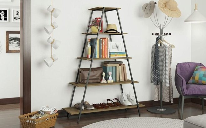 Ellis Pyramid Bookcase Dark Oak/Black