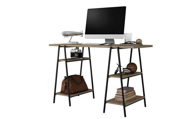 Ellis Home Office Desk Dark Oak/Black