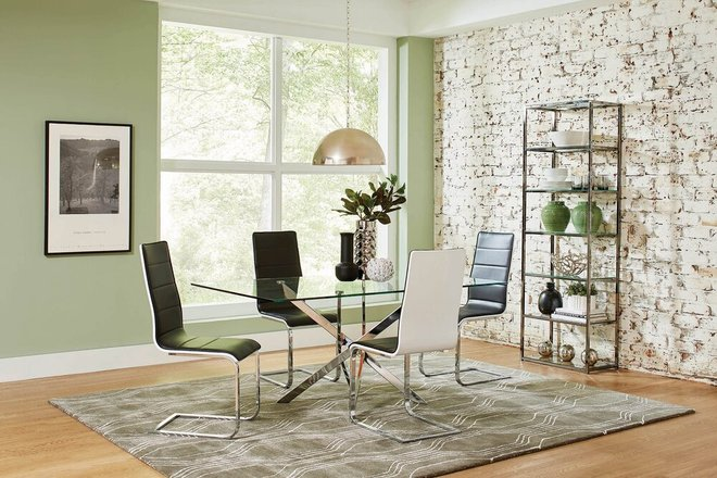 Broderick Contemporary Dining Chair Chrome And Black (Set Of 4)