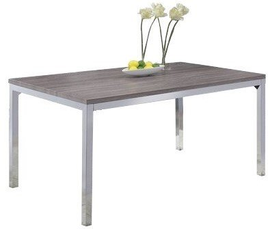 Eldridge Contemporary Dining Table Weathered Gray And Chrome